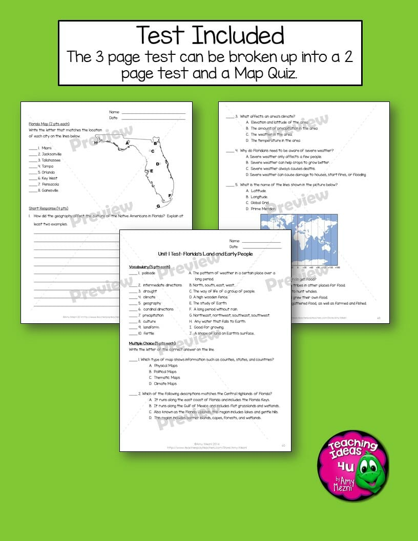 hight resolution of Florida Geography \u0026 Early People Interactive Notebook 4th Grade Unit 1 -  Teaching Resources and Lesson Plans - Teaching Ideas 4U by Amy Mezni