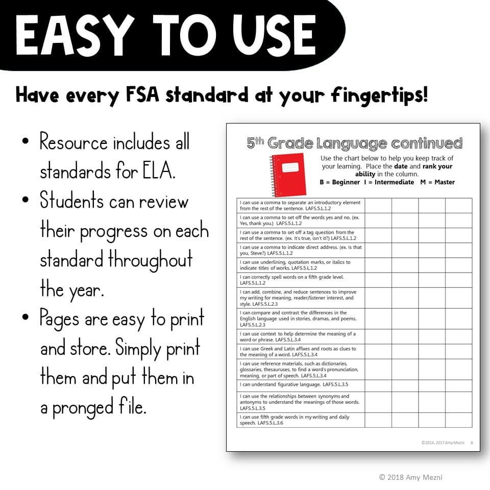 hight resolution of I Can\ Student Checklists 5th Grade LAFS ELA Florida Standards Language  Arts - Teaching Resources and Lesson Plans - Teaching Ideas 4U by Amy Mezni