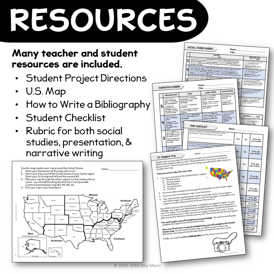 United States Geography Regions & State Research Project