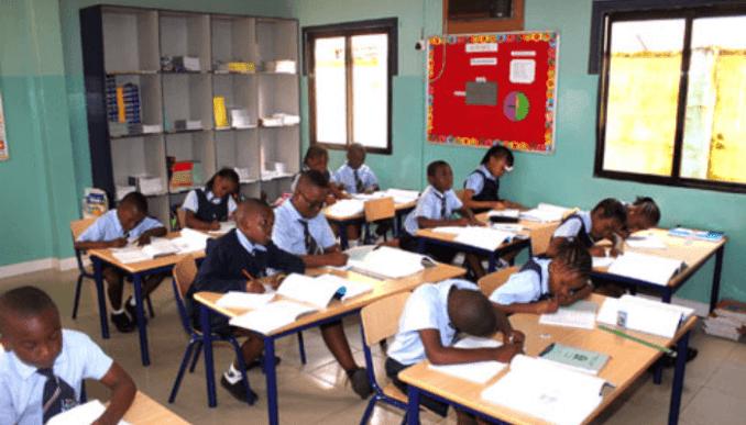 school children in a class