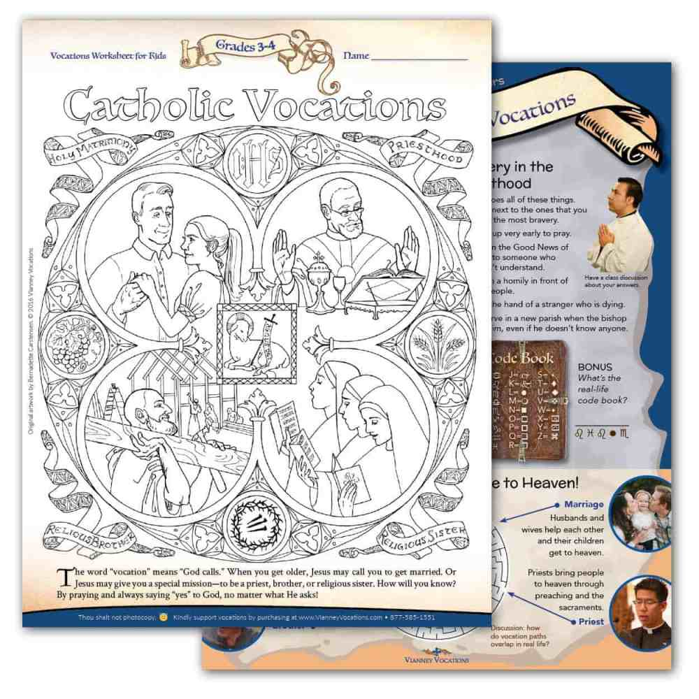 medium resolution of Vocations Worksheet for Kids - Grades 3-4 - Vianney Vocations