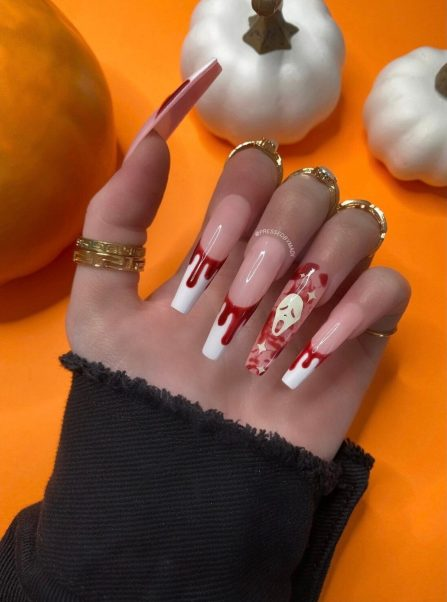 Bloody French tip Halloween nails