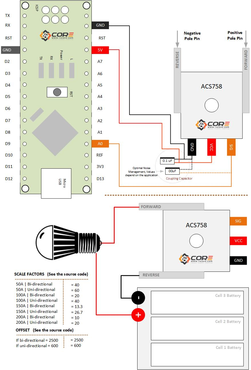 hight resolution of acs758 ac dc current sensing arduino