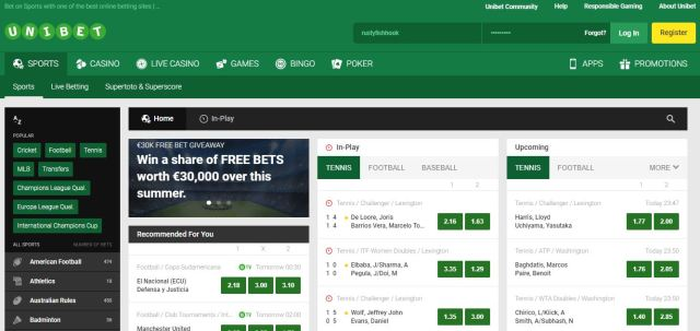 Unibet front page