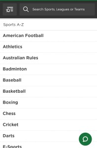 Mr Green list of sports on mobile