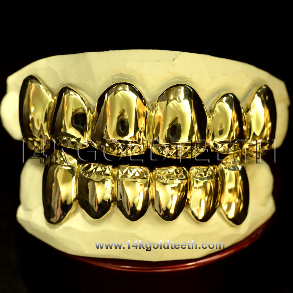 Top Yellow Gold Teeth Grillz - TY 10016