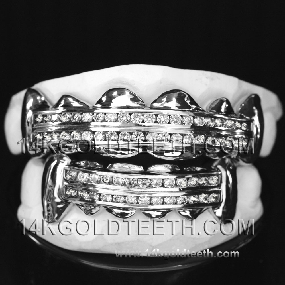 Iced Out Silver Grillz - ICS 40301