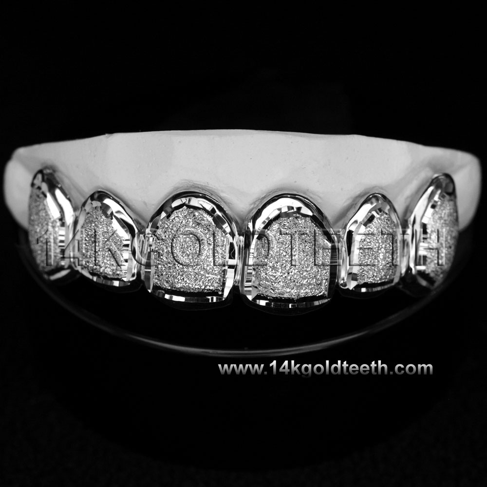 Top White Gold Teeth Grillz - TW 10206