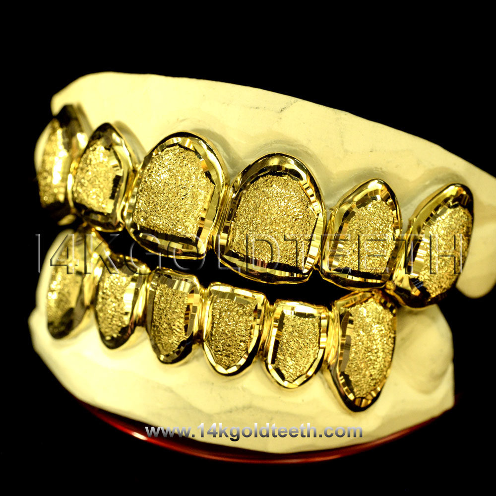 Silver Diamond Dust Grillz with 18k Yellow Gold Plated - SP 113