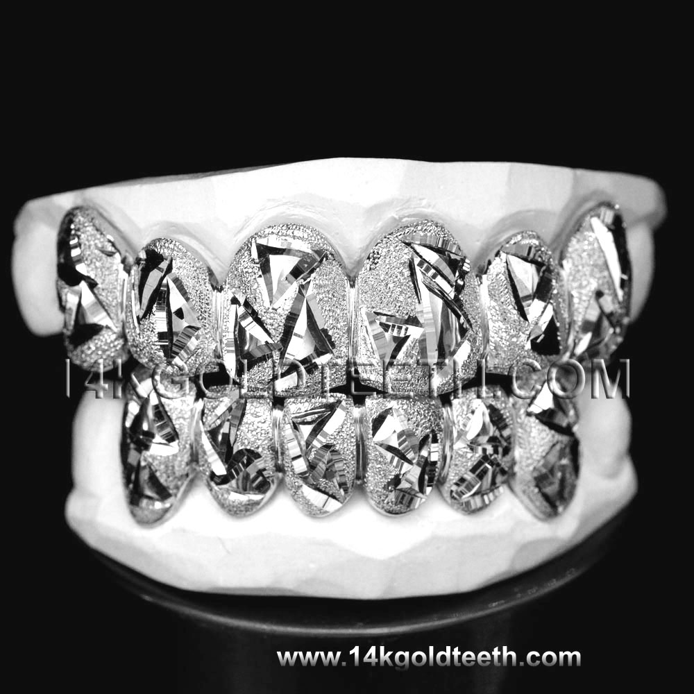 Top & Bottom White Gold Teeth Grillz - TBW 30225