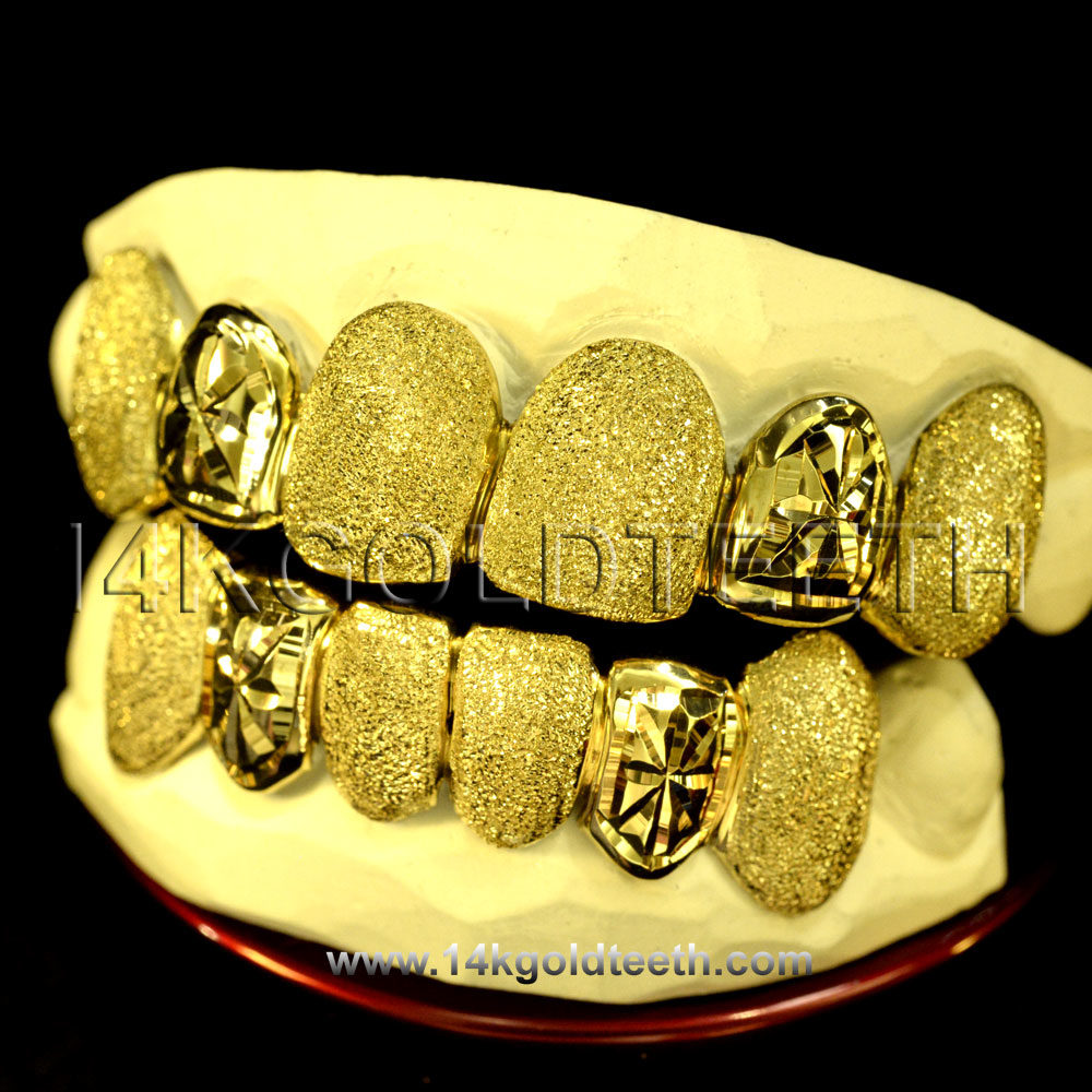 Silver Diamond Dust and Cut Grillz with 18k Yellow Gold Plated - SP 108