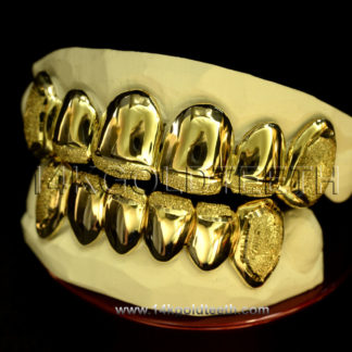 Diamond Dust Yellow Gold Teeth Grillz - DD 90019