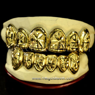 Top & Bottom Yellow Gold Teeth Grillz - TBY 30013