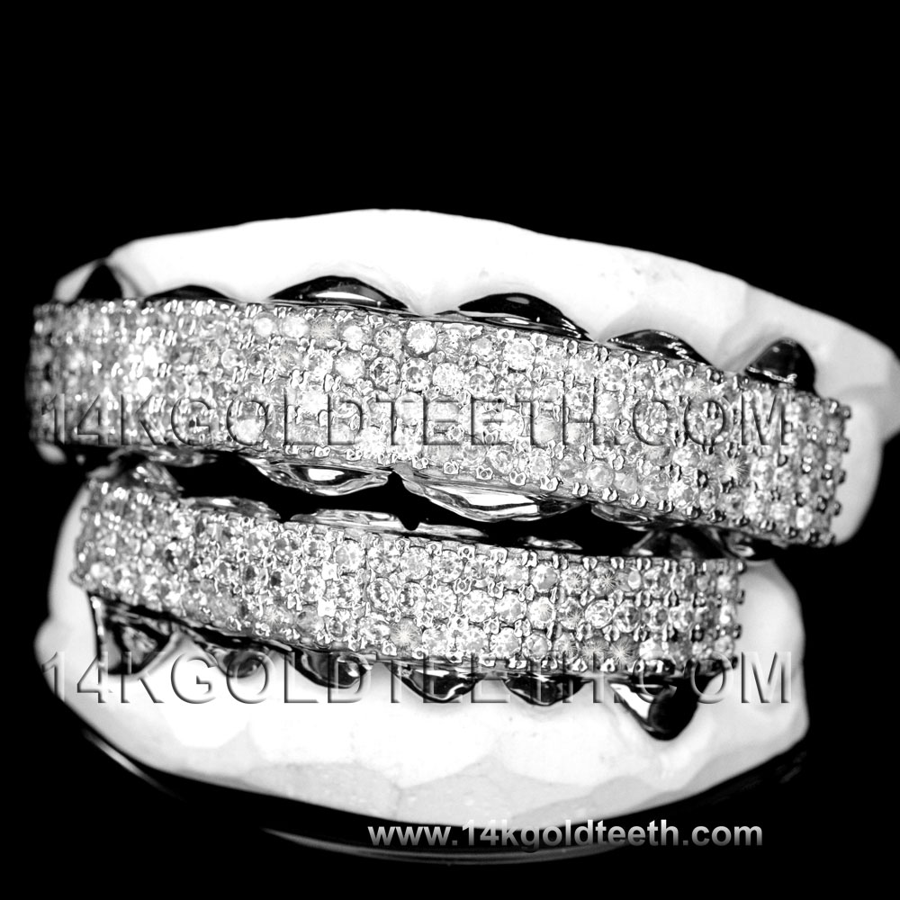 Iced Out Silver Grillz - ICS 40306