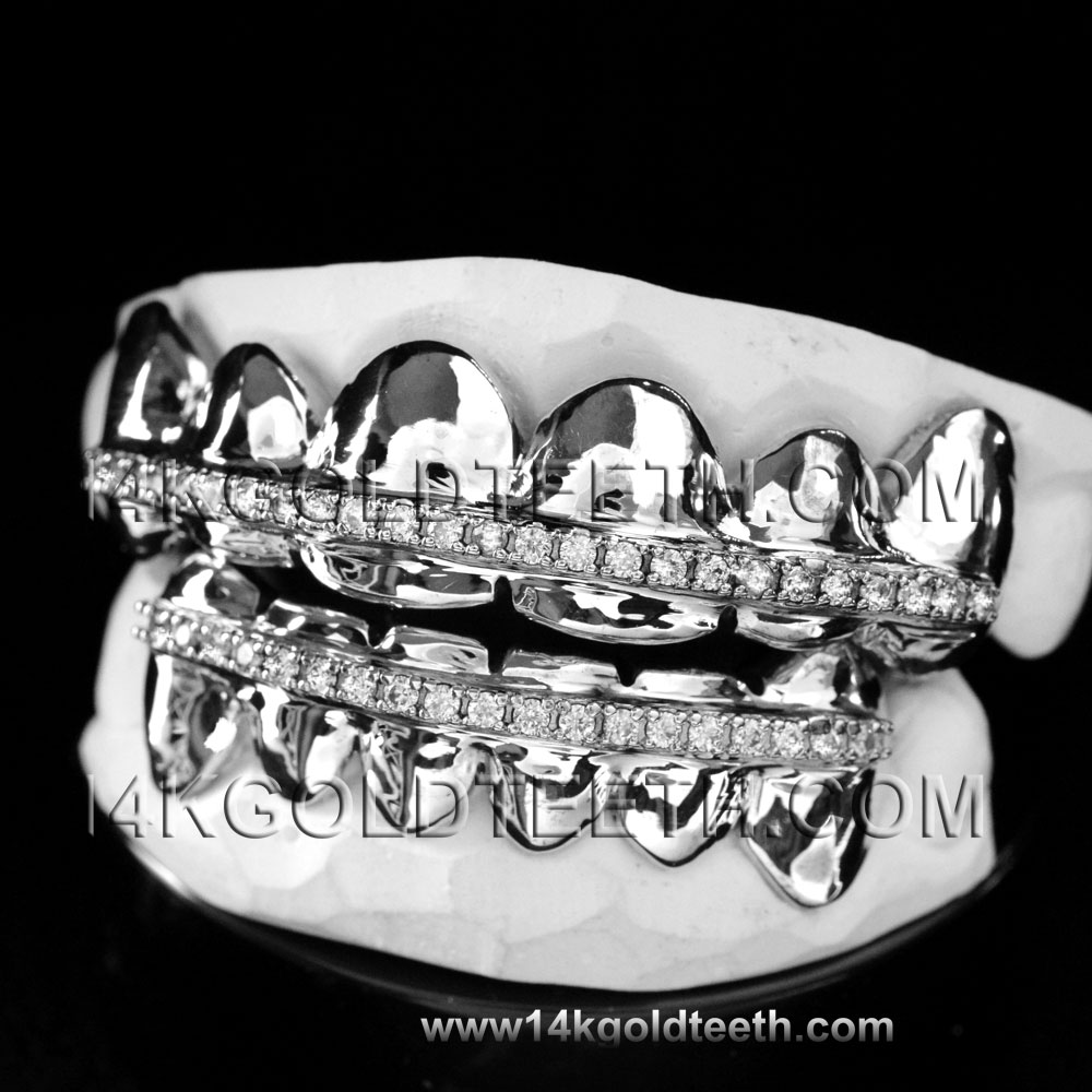 Iced Out Silver Grillz - ICS 40302
