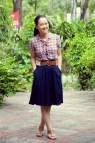 Plaid Shirt Navy Skirt