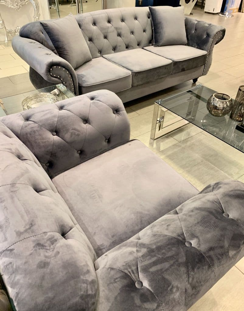 Arabella Sofa Suite In Plush Velvet Grey 3 2 1 Seater