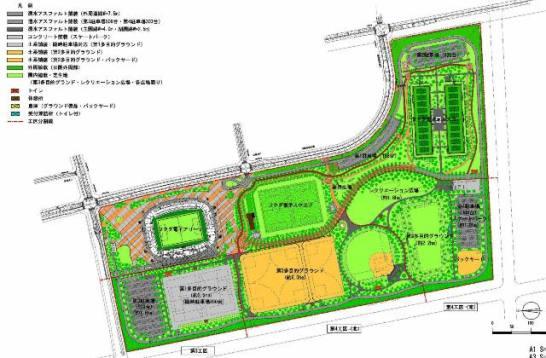 千葉市蘇我スポーツ公園の整備計画平面図より。左上がフクダ電子アリーナ。