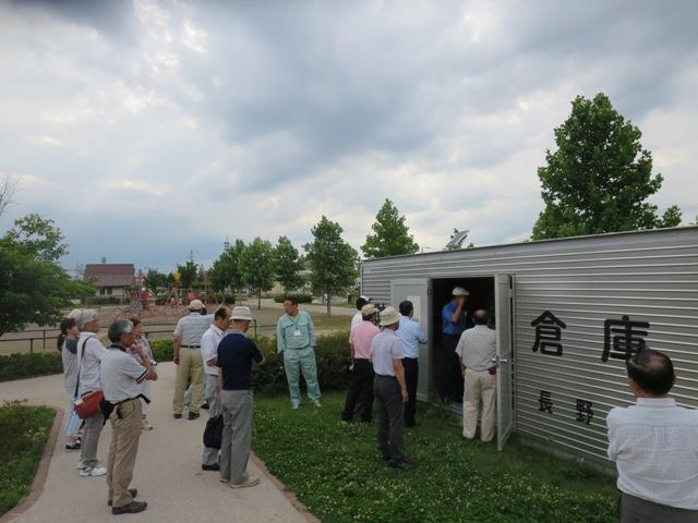 大豆島公園に設置されている防災備蓄倉庫。浄水装置も完備。