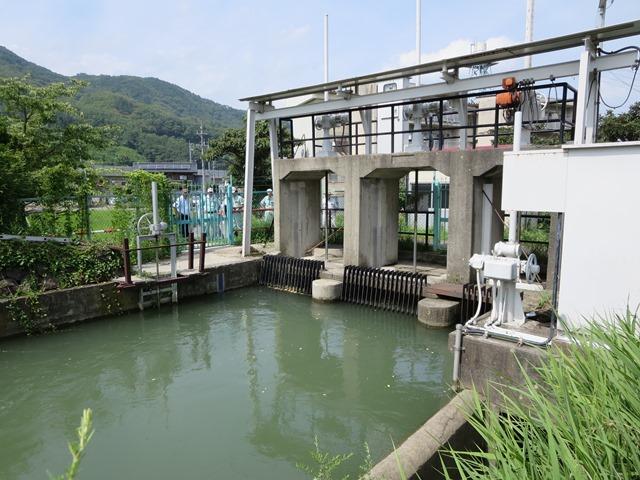 犀北団地の西側にある犀川本線取水口、左側の水門が遠隔電動操作化を求めている犀裾土地改良区の取水口。