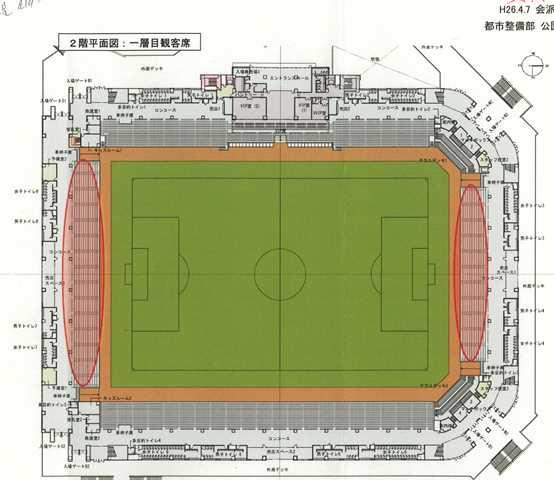 説明資料より。上部がメインスタンド。ゴールネット裏のサイドスタンド(赤線部分)を立見席から椅子5000席に変更を検討するとした
