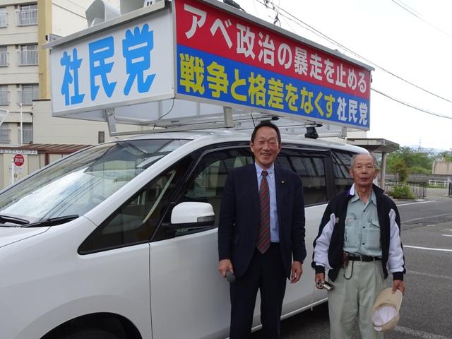 安茂里小市で。キャリアと看板を作ってもらった嶌田工芸社・島田さんと。