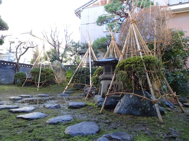 富山の実家で。雪囲いは風情があります。従兄の作品です。