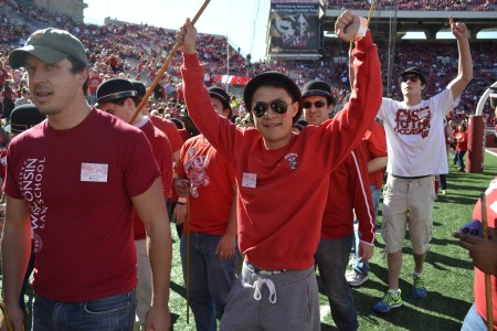 Student after catching his cane.