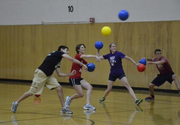 Students participate in a dodge ball tournament as part of the annual Dean's Cup competition between Law and Medical students in 2013.