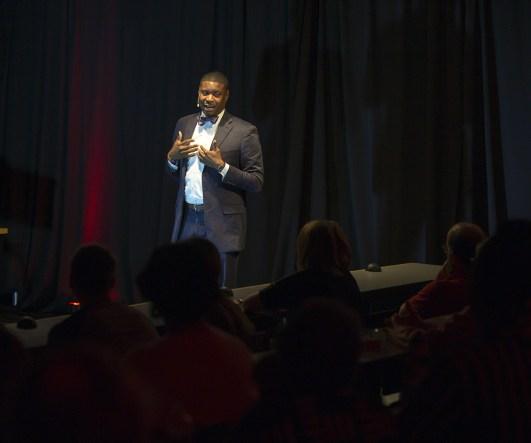 Everett Mitchell talking at UW Law Talks