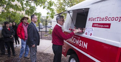 Alumni getting ice cream from a UW truck