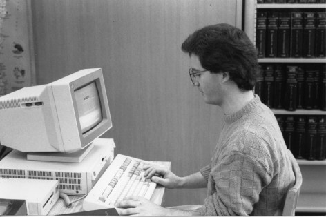 Law student using a library
