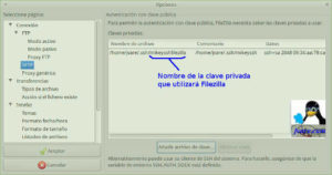 Clave privada Filezilla