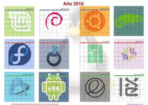 Calendario de pared linuxero de 2016