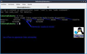 Memoria libre al iniciar Lubuntu 18.10 con Lxqt