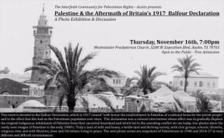 Event: Palestine & the Aftermath of Britain's 1917 Balfour Declaration