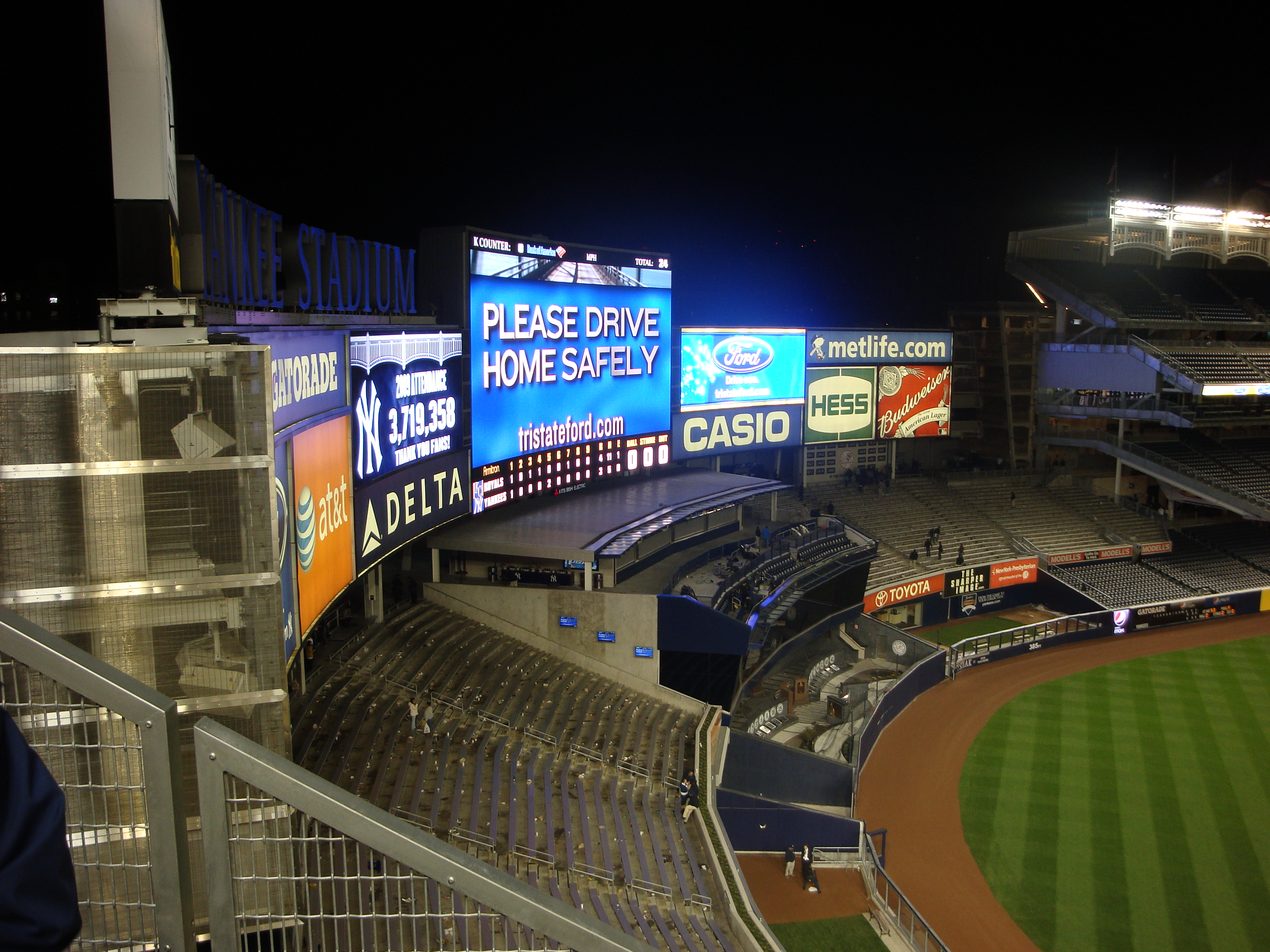 If you look closely you can see the entire year's attendance on the scoreboard to the left of the giant one in center, it displays 3,719,358. That is a lower total attendance than the past few years, but what can you expect with this economy and the higher ticket prices.