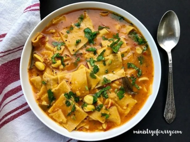 Dal Dhokli made in Instant Pot served in a white bowl