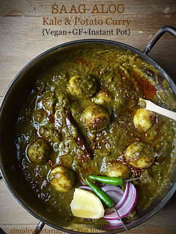 Aloo Palak made in Instant Pot with onions, green chili and lemon as garnish