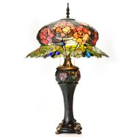 """Tiffany-Style 32"""" Midnight Rose Double Lit Stained Glass ..."""