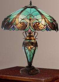 Tiffany-Style Halston Double Lit Stained Glass Table Lamp ...