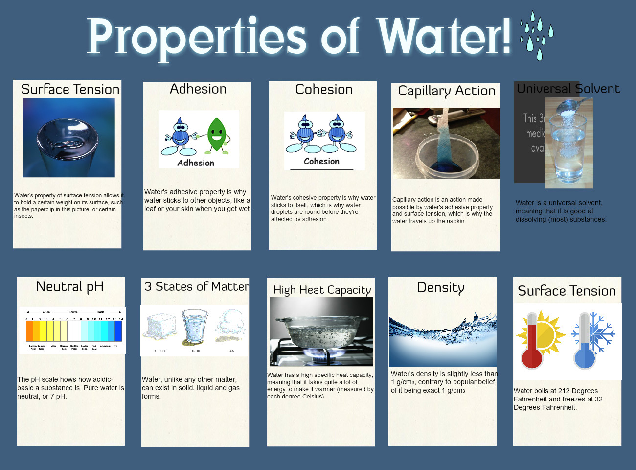 Properties Of Water En Physics Properties Science