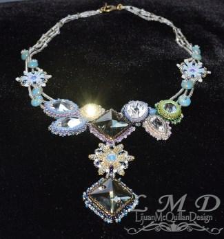 N-15022 seedbead flower crystal necklace 9