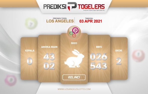 LOS ANGELES Togelers Prediksi 3 April 2021 Sabtu