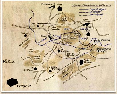 Objectifs allemands pour la journée du 11 Juillet 1916