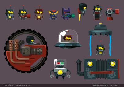 Les robots fous (Crazy Planets par Playfish)