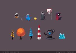 Décorations variées pour la base (Crazy Planets par Playfish)