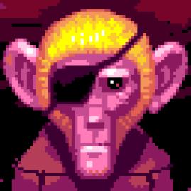 Étape 5 : Ébauche du fond et du corps du singe. Je réalise que ça améliore beaucoup l'image.