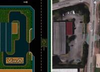 Les locaux de Valadon Automation tels qu'ils apparaissent dans Tank Buster et une vue satellite de Google Maps