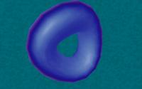 Symbole jusquà l'excès de l'engouement pour les objets 3D dans les années 1990 : le tore (torus en anglais). Magic Biniou par Eclipse (MS-DOS, 1996) https://demozoo.org/productions/33234/
